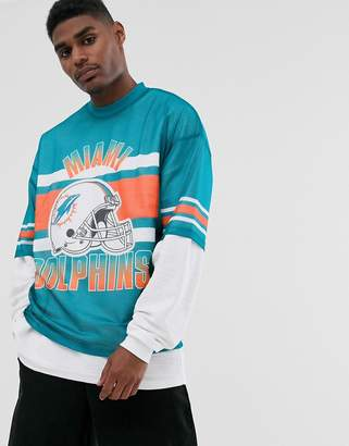 Asos Design DESIGN Miami Dolphins NFL oversized t-shirt in mesh-Blue
