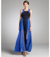 Max & Cleo royal blue and black chiffon 'Angela' gown
