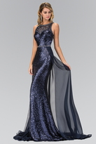 Elizabeth K - Sequined Illusion Jewel Neck A-Line Gown GL1400