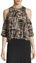 Rachel Pally Gideon Cold-Shoulder Cropped Top, Etch Print, Plus Size