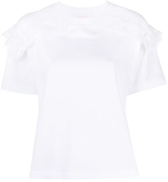 See by Chloe embroidered scallop T-shirt