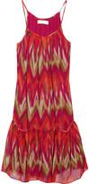 Ikat-print silk-chiffon dress