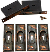 Rejuvenation Lovely Egg & Dart Double Pocket Door Set W/Key, C1905