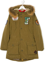 Freedomday Junior parka coat with patch appliqués