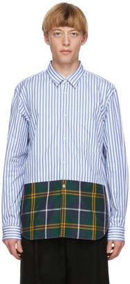 Comme des Garçons Homme Plus Blue and White Striped Tartan Shirt