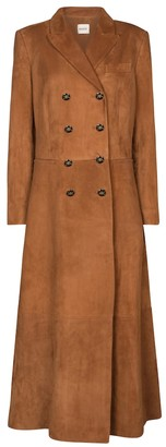 KHAITE Marge double-breasted suede coat