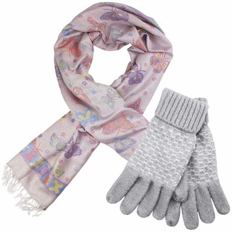 Teddyts Women's Metallic Thread Butterfly Print Tassel Scarf & Chunky Knit Glove Set (French Grey)