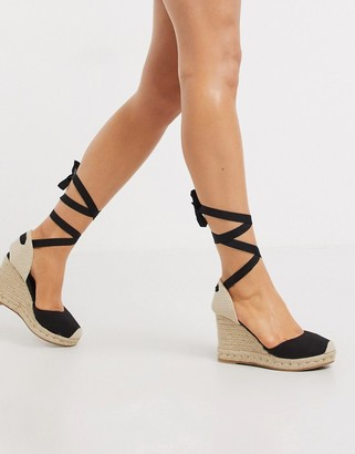 New Look espadrille tie up wedges in black