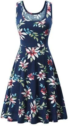 OYSOHE Women Sleeveless Printing Summer Beach A Line Casual Dress Floral Dress Dark Blue