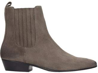 Marc Ellis Low Heels Ankle Boots In Taupe Suede