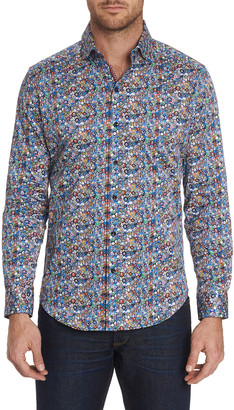 Robert Graham Men's Reves Multicolor Patterned Sport Shirt w/ Contrast Detail