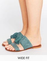 Asos FORGIVEN Wide Fit Suede Tassel Mules