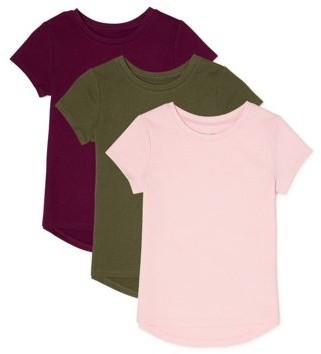 Garanimals Baby Girls & Toddler Girls Short Sleeve Solid T-shirts, 3-Pack (12M-5T)
