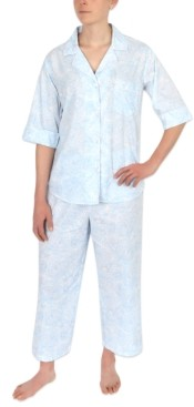 Miss Elaine Petite Printed Capri Pajama Set