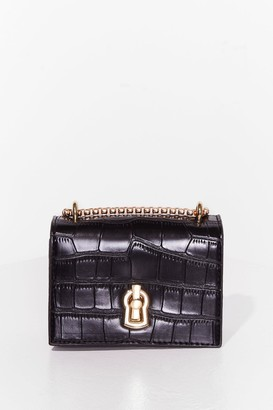 Nasty Gal Womens WANT Croc It Off Faux Leather Crossbody Bag - Black - One Size