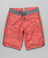 Micros Red Messy Board Shorts - Boys