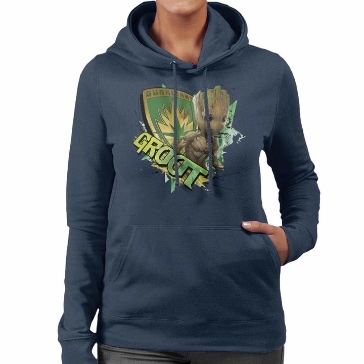 Thumbnail for your product : Marvel Guardians of The Galaxy Vol 2 Shield Groot Women's Hooded Sweatshirt Navy Blue