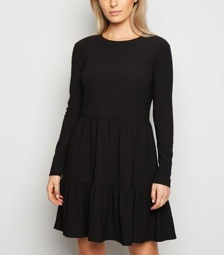 New Look Petite Crinkle Long Sleeve Smock Dress