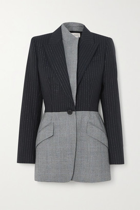 Alexander McQueen Asymmetric Pinstriped And Prince Of Wales Checked Wool Blazer - Black