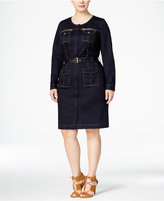 INC International Concepts Plus Size Belted Denim Utility Shirtdress, Only at Macy's