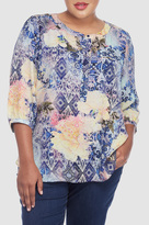 NYDJ Morroccan Rose Printed 3/4 Sleeve Blouse In Plus