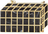 Rafe Pia Geometric Shell Minaudiere, Black/Gold