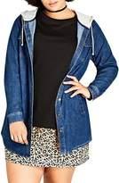 City Chic Plus Size Women's Denim Vibe Hooded Jacket