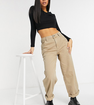 ASOS DESIGN Petite slouchy chino pants in mushroom