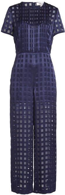 Diane von Furstenberg Wide Leg Jumpsuit with Sheer Inserts