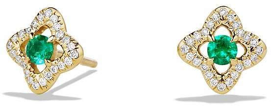 David Yurman Venetian Quatrefoil Earrings with Emeralds and Diamonds in 18K Gold