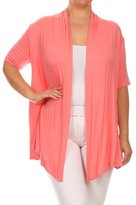 Private Label Women's PLUS Solid Short Sleeves Open Front Asymmetric Hem Cardigan. MADE IN USA