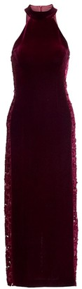 Galvan Rosa Stretch Velvet Halter Dress