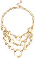 Rivka Friedman 18K Gold Clad Polished Triple Tier Chain Bib Necklace