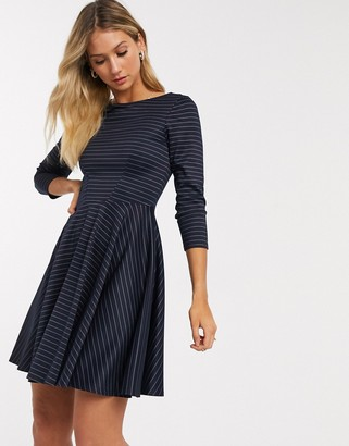 Closet London mini skater dress with 3/4 sleeve in navy