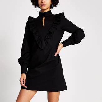 River Island Womens Black frill high neck long sleeve mini dress