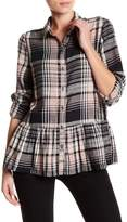 Susina Plaid Button Down Ruffle Shirt (Regular & Petite)