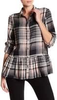 Susina Plaid Button Down Ruffle Shirt