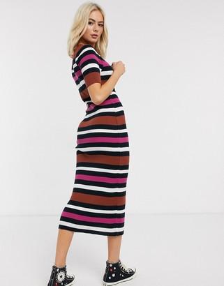 Asos DESIGN knitted stripe midi dress