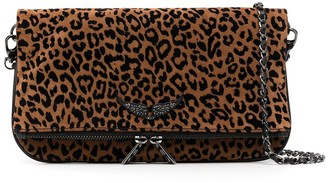 Zadig & Voltaire Rock Leo suede clutch bag