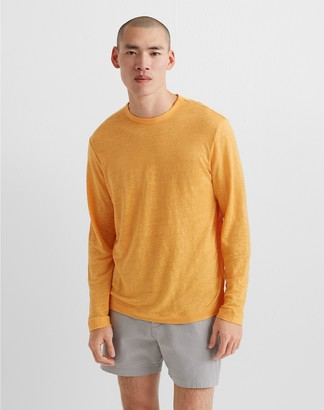Club Monaco Long Sleeve Linen Crew