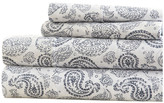 IENJOY HOME Becky Cameron Coarse Paisley Pattern 4 Piece Bed Sheet Set, Navy, Full