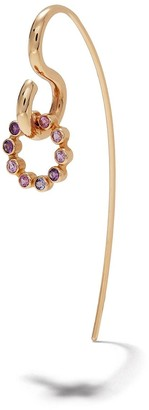 Charlotte Chesnais 18kt yellow gold Swing amethyst and sapphire earring