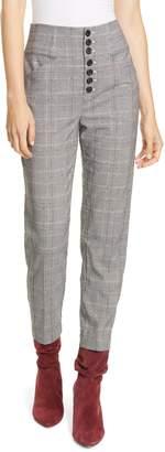 Joie Abony Windowpane Plaid Slim Trousers