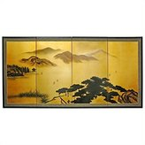 Oriental Furniture Asian Art, Decor and Gifts, 36 by 72-Inch White Mountain Oriental Gold Leaf Wall Screen Painting