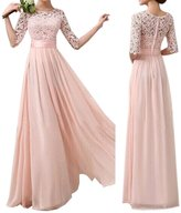 Min Qiao Womens Elegant Floral Lace Half Sleeve Beach Party Wedding Evening Gown Chiffon Dress