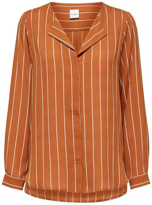 Selected Ginger Pin Striped Dynella Shirt Blouse - 34 (8) - Orange/White/Brown