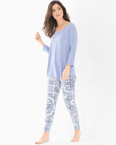 Soma Intimates Relaxed Fit Pajama Set Medallion Pale Iris