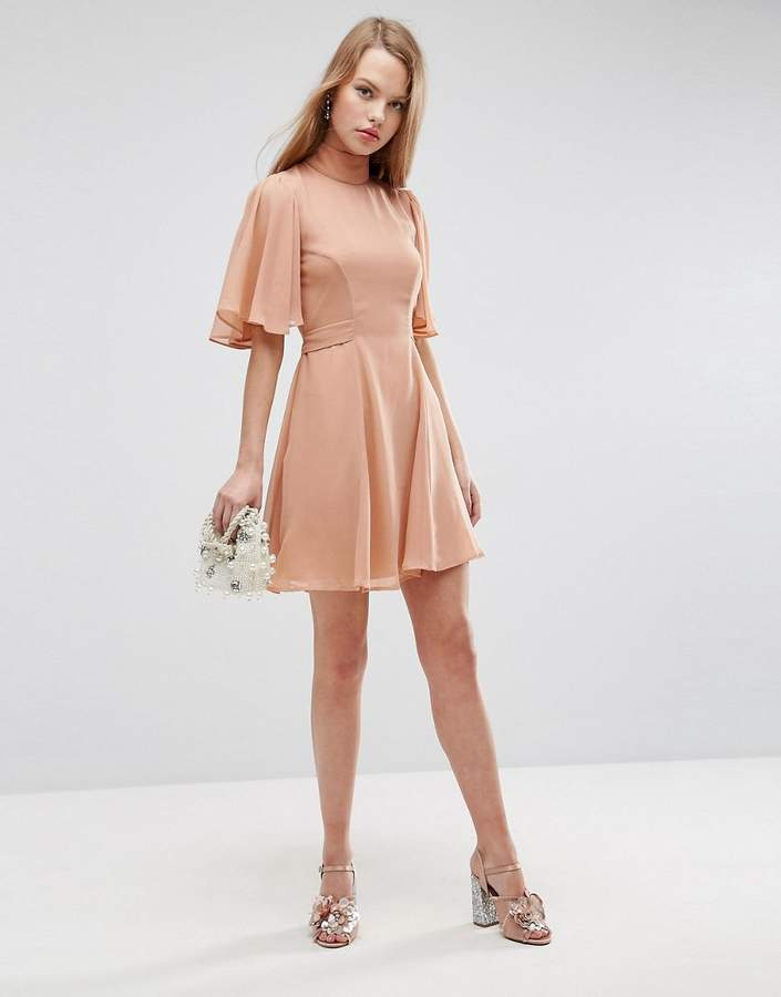 Asos Design High Neck Flutter Sleeve Open Back Mini Dress
