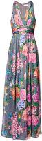 Matthew Williamson Duchess Garden Grey V Neck Silk Gown