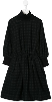 Unlabel Ruched Waist Turtle Neck Checked Dress
